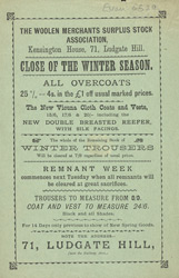 Advert for the Woolen Merchants Surplus Stock Association